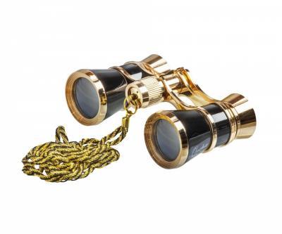 Бинокль театральный Veber Opera БГЦ 3x25 с цепочкой черный, золотой