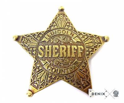Значок звезда Шерифа пятиконечная, латунь (DE-104)