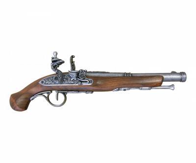 Макет пистолет кремневый, никель (XVIII век) DE-1102-G