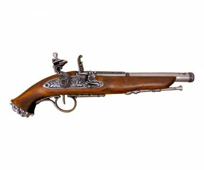Макет пистолет кремневый пиратский, никель (XVIII век) DE-1103-G
