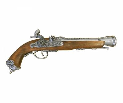 Макет пистолет кремневый, никель (Италия, XVIII век) DE-1104-G