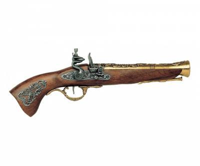 Макет пистолет кремневый «Мушкетон», латунь (Австрия, XVIII век) DE-1231-L