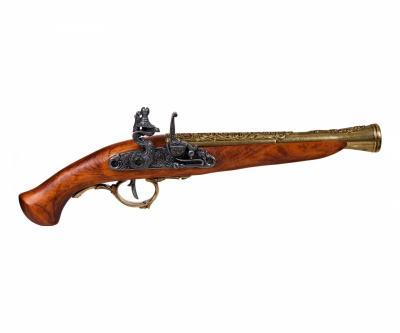 Макет пистолет кремневый, латунь (Германия, XVII век) DE-1260-L
