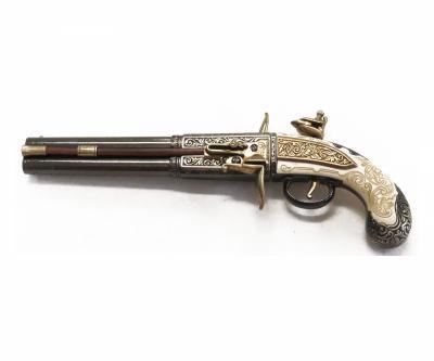 Макет пистолет кремневый двуствольный, под кость (Англия, 1750 г.) DE-1264