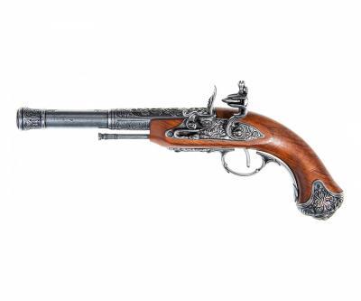 Макет пистолет кремневый леворукий, сталь (Индия, XVIII век) DE-1296-G