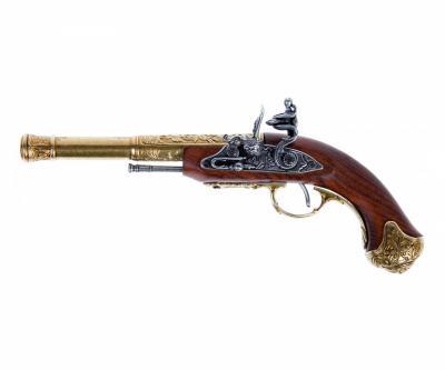 Макет пистолет кремневый леворукий, латунь (Индия, XVIII век) DE-1296-L
