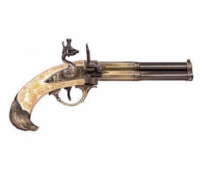 Макет пистолет кремневый трехдульный, под кость (Франция, XVIII век) DE-5306