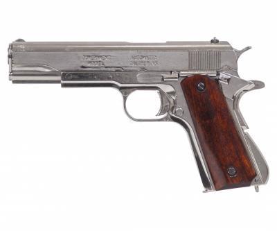 Макет пистолет Colt M1911A1, .45 калибра, хром, лакиров. дерево (США, 1911 г.) DE-6312
