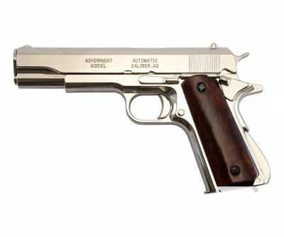 Макет пистолет Colt M1911A1, .45 калибра, хром, лакиров. дерево (США, 1911 г.) DE-6316
