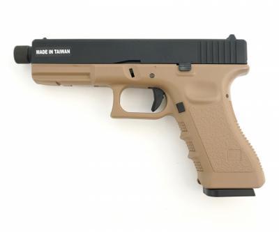 Страйкбольный пистолет KJW Glock G17 TBC CO2 Tan, удлин. ствол