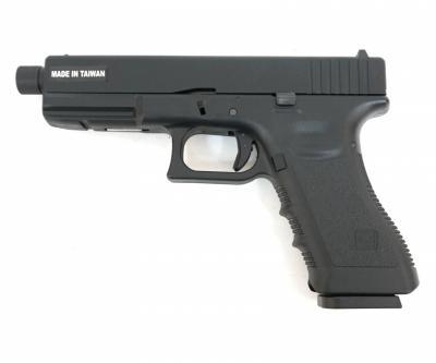 Страйкбольный пистолет KJW Glock G17 TBC CO2 Black, удлин. ствол