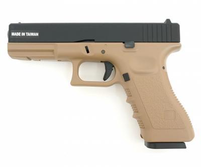 Страйкбольный пистолет KJW Glock G17 Gas GBB Tan (KP-17-TAN)