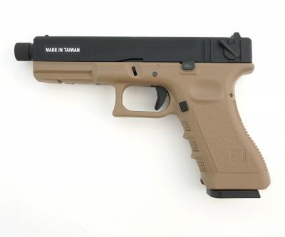 Страйкбольный пистолет KJW Glock G18 TBC CO2 Tan, удлин. ствол
