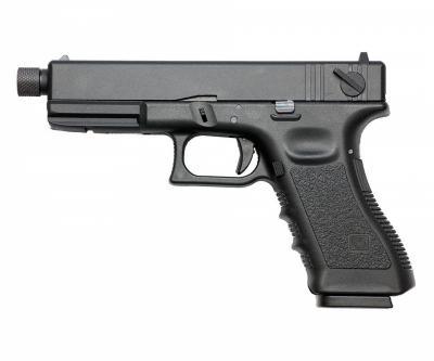 Страйкбольный пистолет KJW Glock G18 TBC CO2 Black, удлин. ствол
