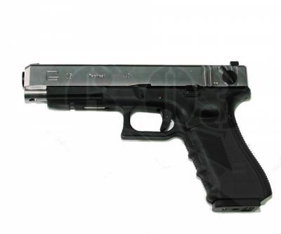 Страйкбольный пистолет WE Glock-35 Gen.4 Silver, сменные накладки (WE-G009B-SV)
