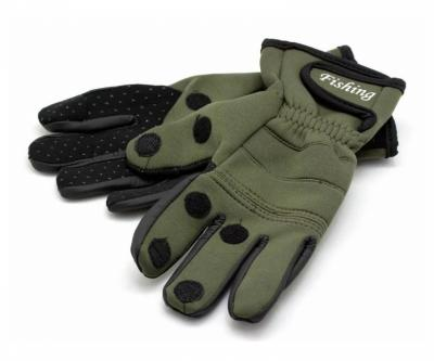 Перчатки Стикхант Рыболов с откидными пальцами и противоскользящей ладонью (хаки)