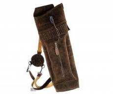 Колчан замшевый темно-коричневый, большой (застежка-рог буйвола)