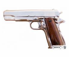 Макет пистолет Colt M1911, .45 калибра, хром, лакиров. дерево (США, 1911 г.) DE-1227-NQ