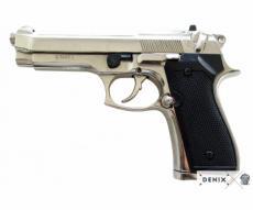 Макет пистолет Беретта 92F, калибр 9 мм, никель (Италия, 1975 г.) DE-1254-NQ