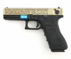 Страйкбольный пистолет WE Glock-18 Gen.3 Bronze, с гравировкой (WE-G002BOX-BR)