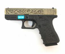 Страйкбольный пистолет WE Glock-19 Gen.3 Ivory, с гравировкой (WE-G003BOX-IV)