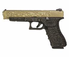 Страйкбольный пистолет WE Glock-34 Gen.3 Bronze, с гравировкой (WE-G008BOX-BR)