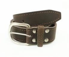 Кожаный ремень Hiter 35 мм, коричневый, со строчкой